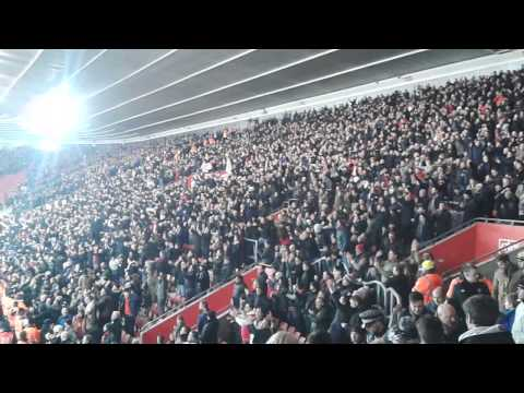 Manchester United fans at Southampton louis van gaals red and white army